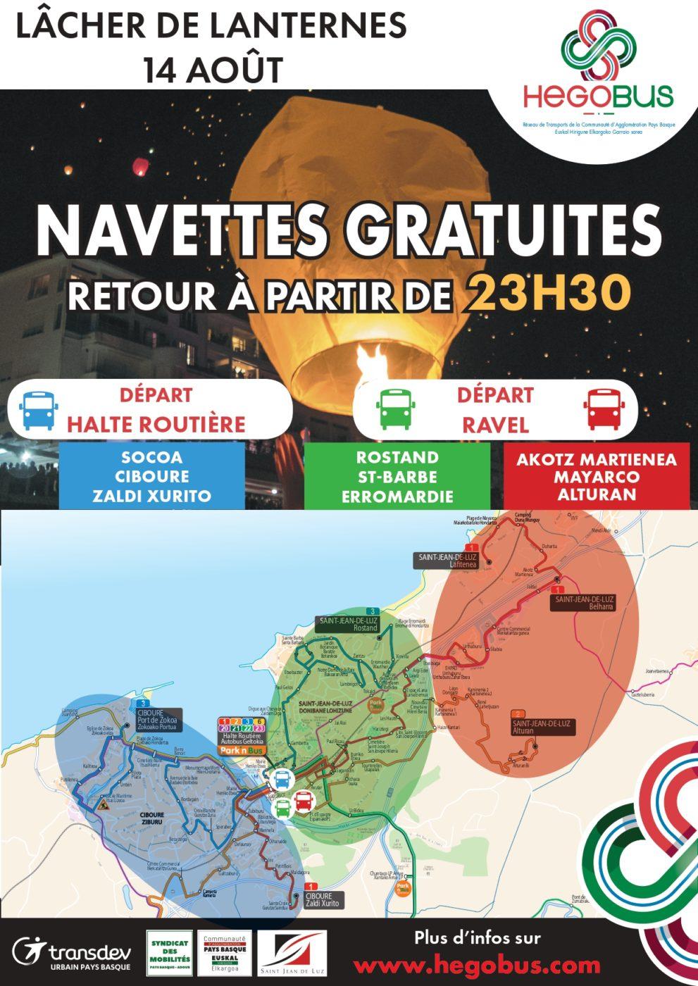 Affiche Navettes Gratuites Lacher Lanternes 14 Aout 2019