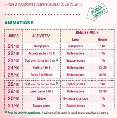 Animations Automne 2019